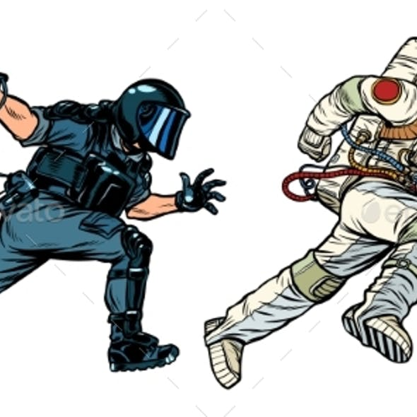 Astronaut and Riot Police with a Baton