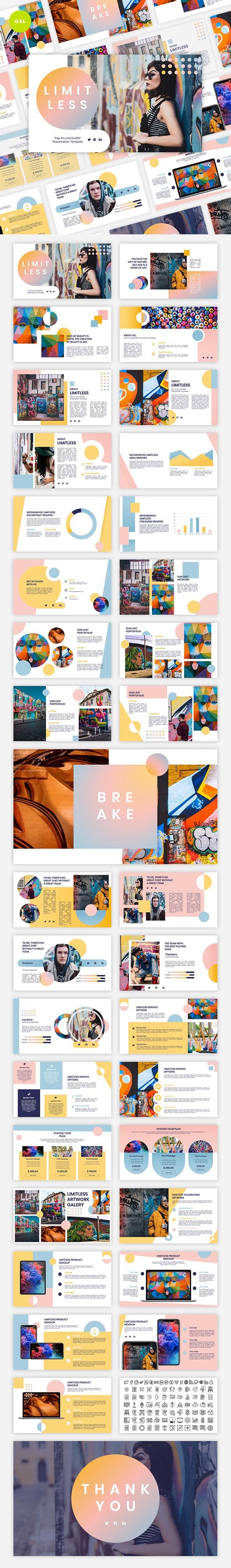 Limitless - Pop Art & Graffiti Google Slides Template - Google Slides Presentation Templates