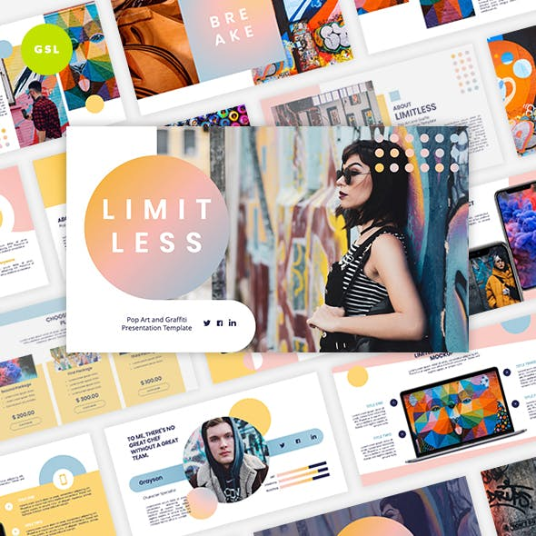 Limitless - Pop Art & Graffiti Google Slides Template by Graphiqa