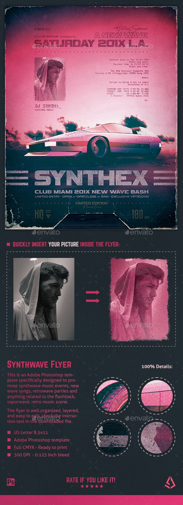 Synthwave Flyer v10 80s Retro Wave Poster Template - Clubs & Parties Events