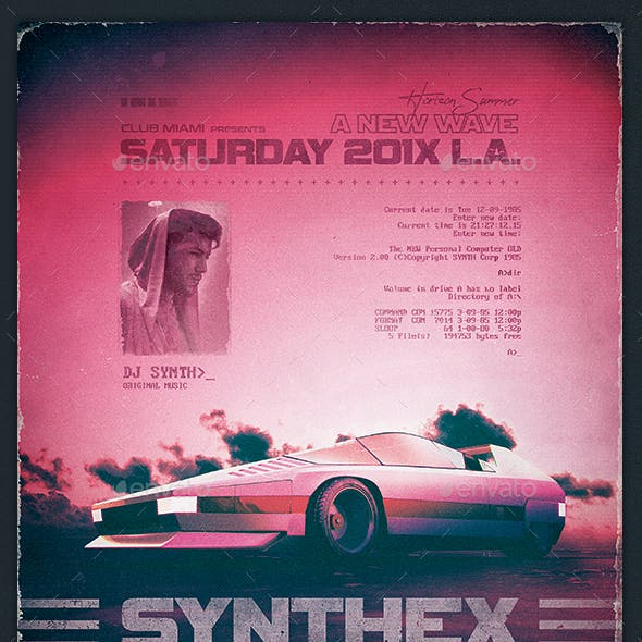 Synthwave Flyer v10 80s Retro Wave Poster Template