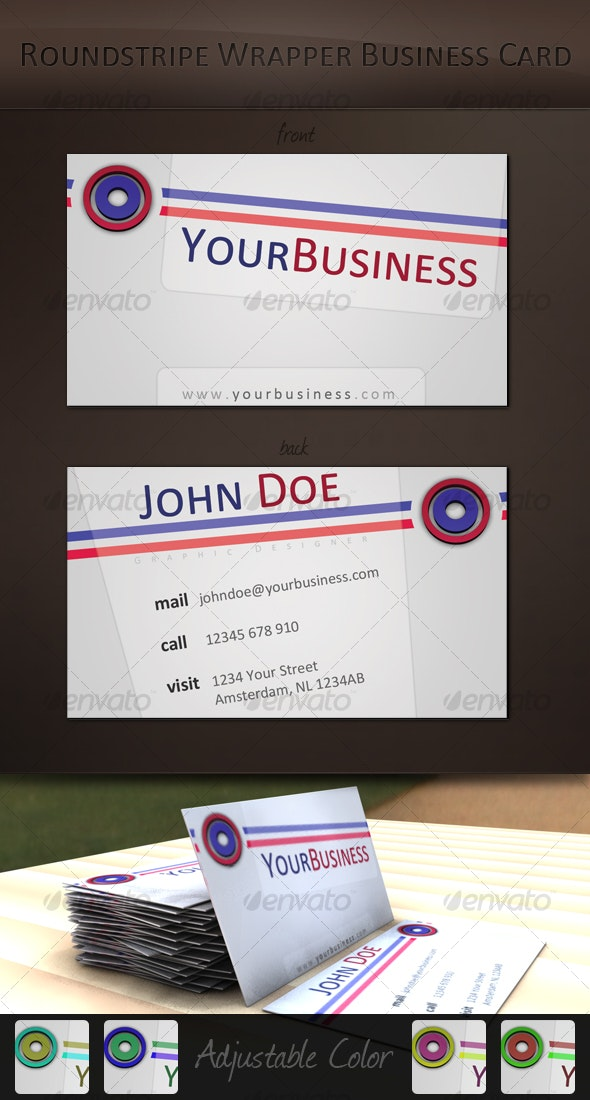 'Roundstripe Wrapper' Business Card - Creative Business Cards