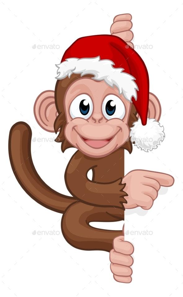Christmas Hat Cartoon.Christmas Monkey Cartoon Character In Santa Hat