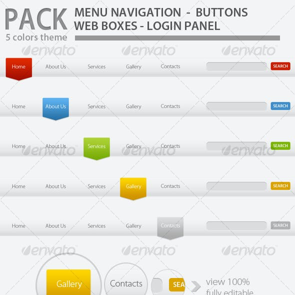 Web Elements Pack Tabs Modern - 5 Colors
