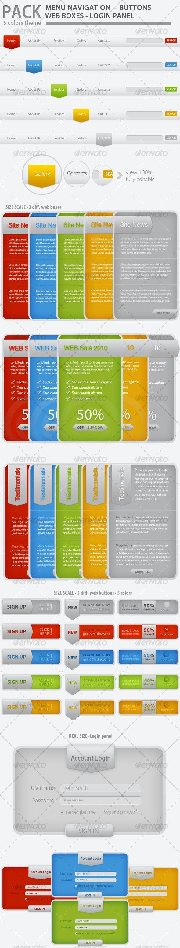 Web Elements Pack Tabs Modern - 5 Colors - Web Elements
