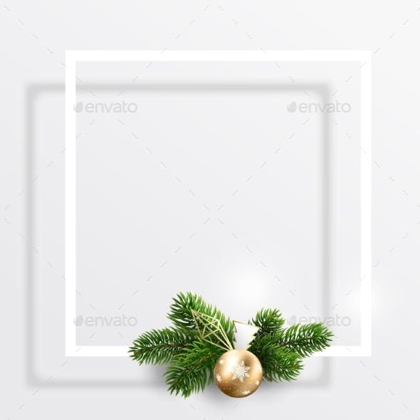 Empty Postcard for Christmas and New Year Wishes