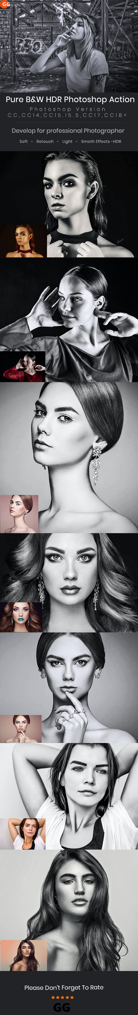 Pure B&W HDR Photoshop Action - Photo Effects Actions