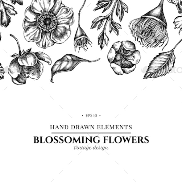 Floral Design with Black and White Japanese
