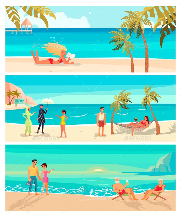 Summer Beach Landscape - People Characters