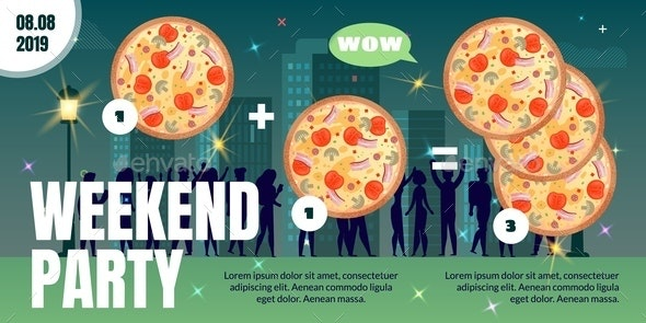 Weekend Party in Pizzeria Flat Vector Ad Poster - Business Conceptual
