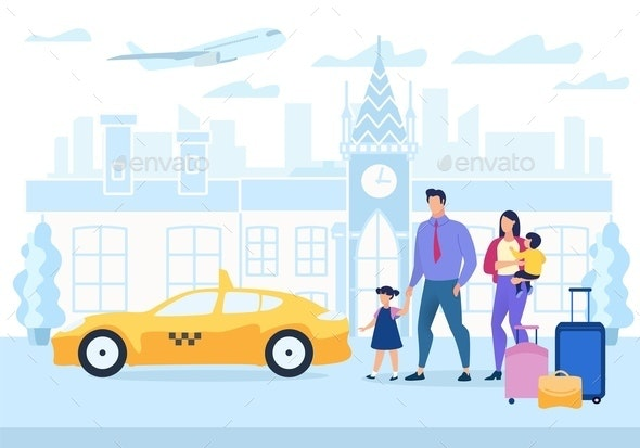 Advertising Poster Family Travel Cartoon Flat. - Miscellaneous Vectors