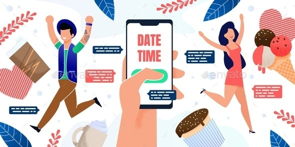 Using Dating App for Smartphone Flat Vector Poster - Technology Conceptual