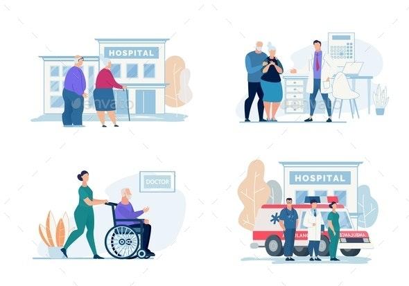 Bright Flyer Hospital Visit Lettering, Cartoon. - Health/Medicine Conceptual