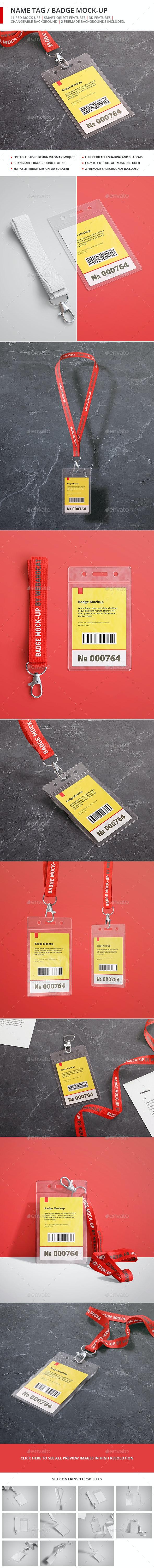 Name Tag / Badge Mock-up - Stationery Print