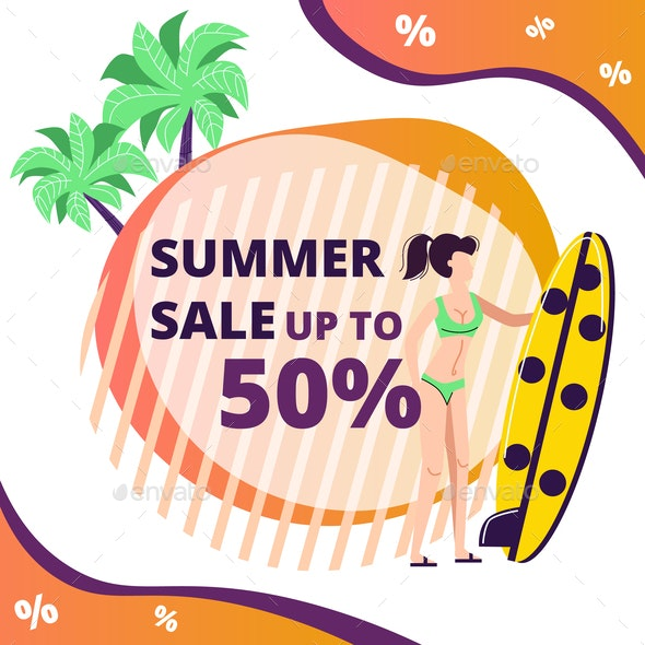 Summer Sale Banner with Woman Holding Surf Board - Business Conceptual