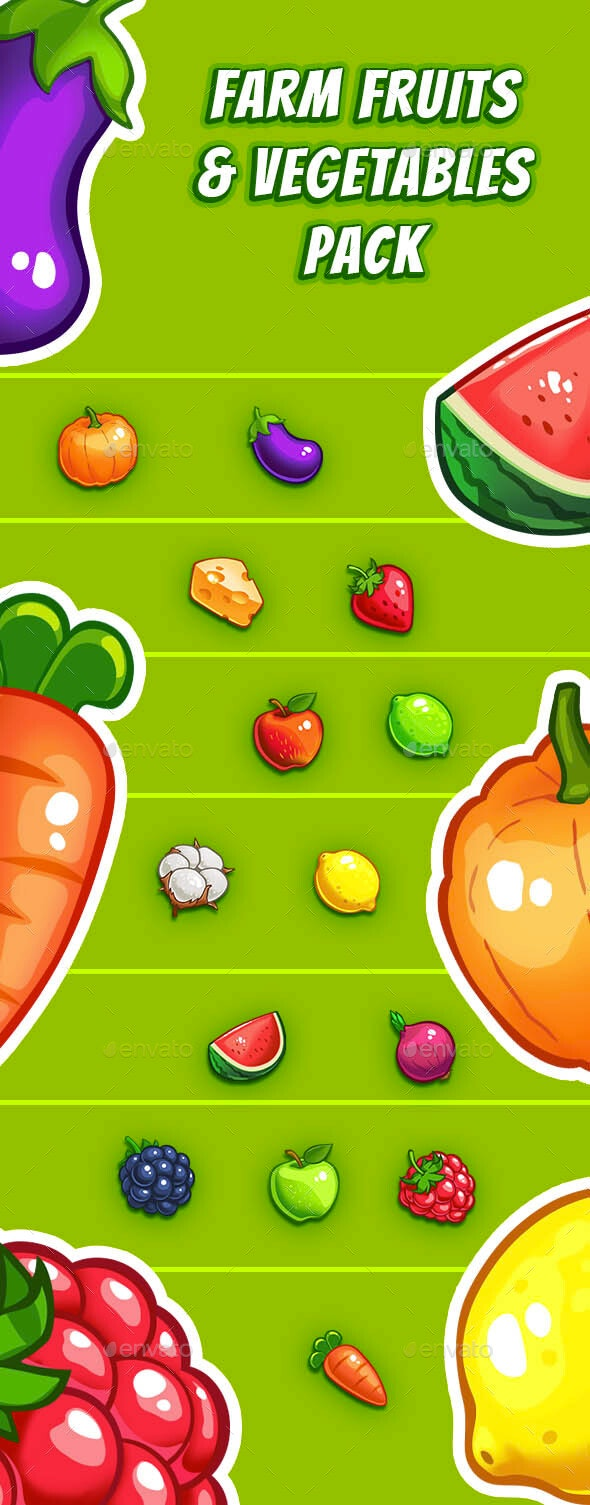 Farm Fruits & Vegetables Pack - Match 3 Game Crush - Miscellaneous Game Assets