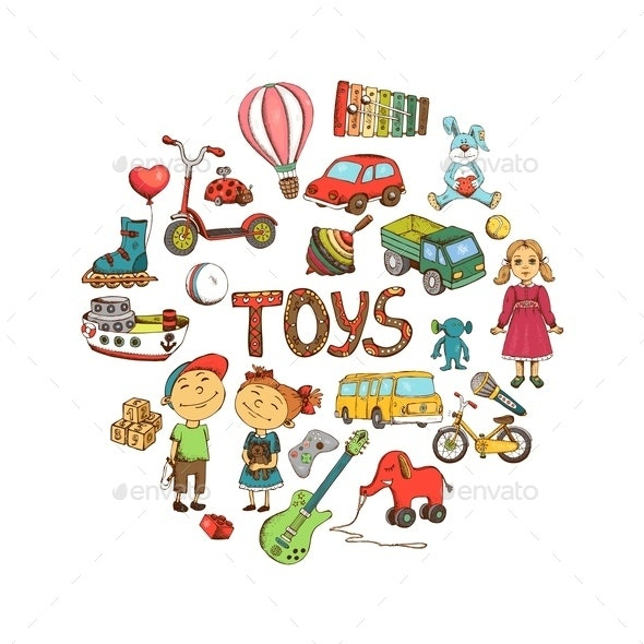 Sketch Children Toys Round Concept - Animals Characters