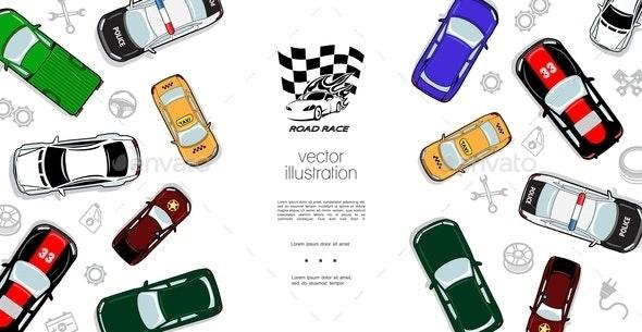 Colorful Automobiles Top View Template - Miscellaneous Vectors
