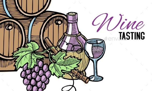 Wine Barrel Hand Drawn with Grape Vines Around - Food Objects