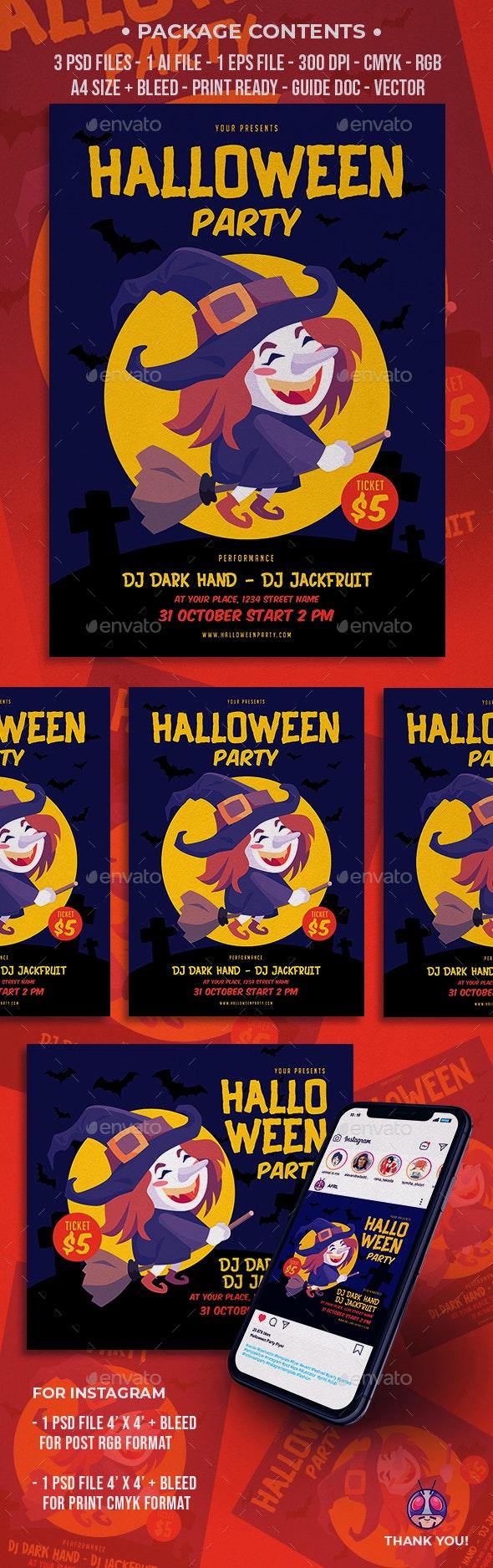Halloween Party Flyer - Brochures Print Templates