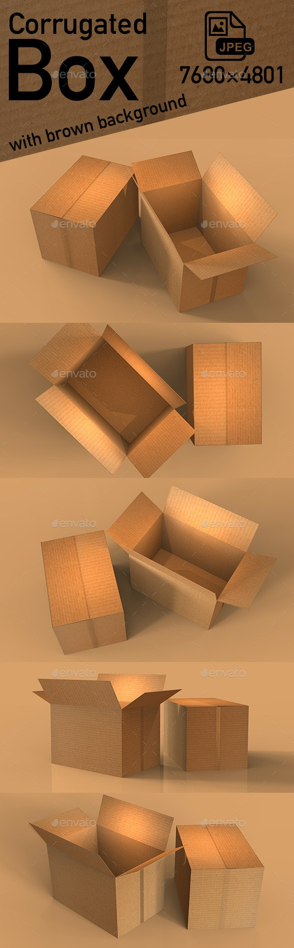 A Cardboard Box with Brown Background - 3D Backgrounds