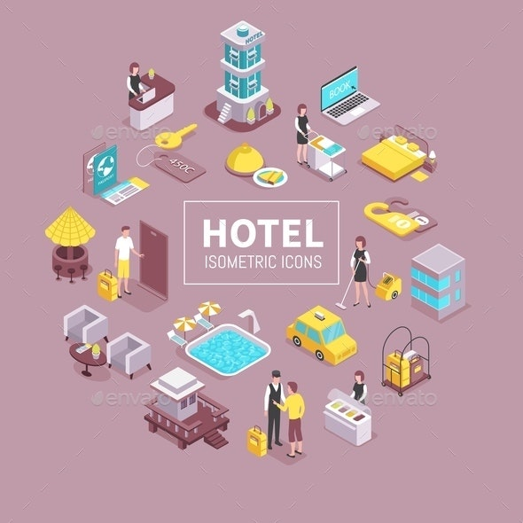 Hotel Isometric Composition - Industries Business