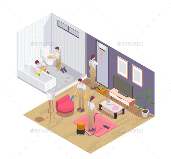 Cleaning Service Isometric Composition - Miscellaneous Vectors