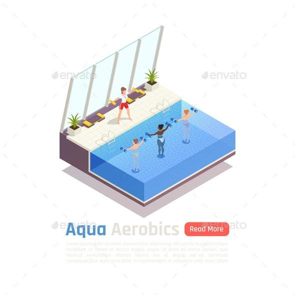 Aqua Aerobics Isometric Composition - Sports/Activity Conceptual