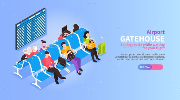 Isometric Airport Lounge Banner - Travel Conceptual