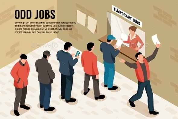 Odd Jobs Horizontal Illustration - Miscellaneous Vectors