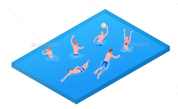 Water Sport Isometric Composition - Sports/Activity Conceptual