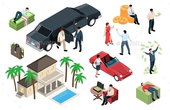 Rich People Isometric Set - People Characters