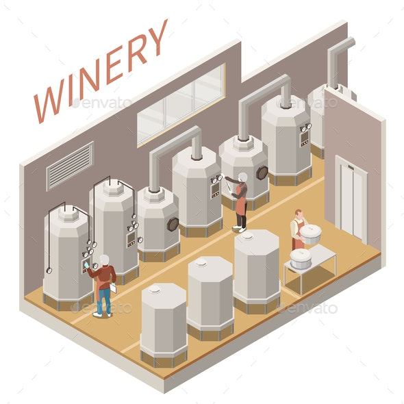 Wine Production Isometric Composition - Miscellaneous Vectors