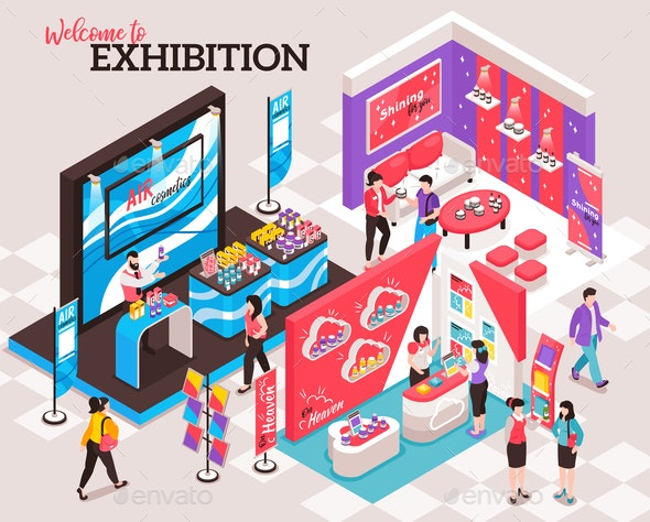 Exhibition Show Stands Composition - Miscellaneous Vectors