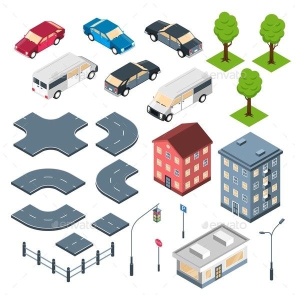 City Elements Isometric Set - Miscellaneous Vectors