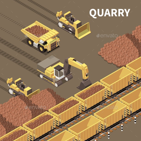 Mining Machinery Isometric Illustration - Miscellaneous Vectors