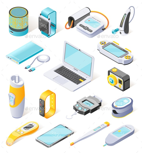 Portable Electronics Isometric Icons - Computers Technology