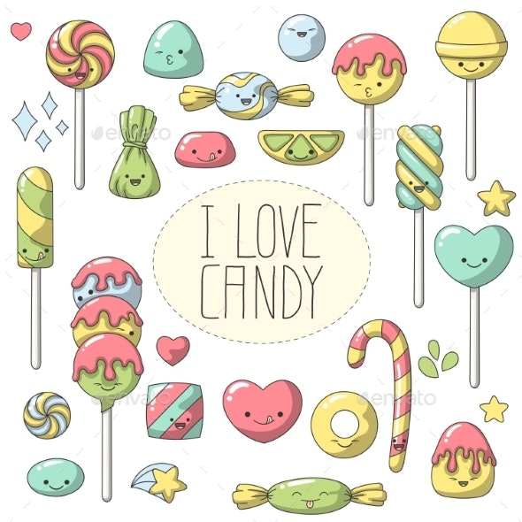 Doodle Candy Set - Food Objects