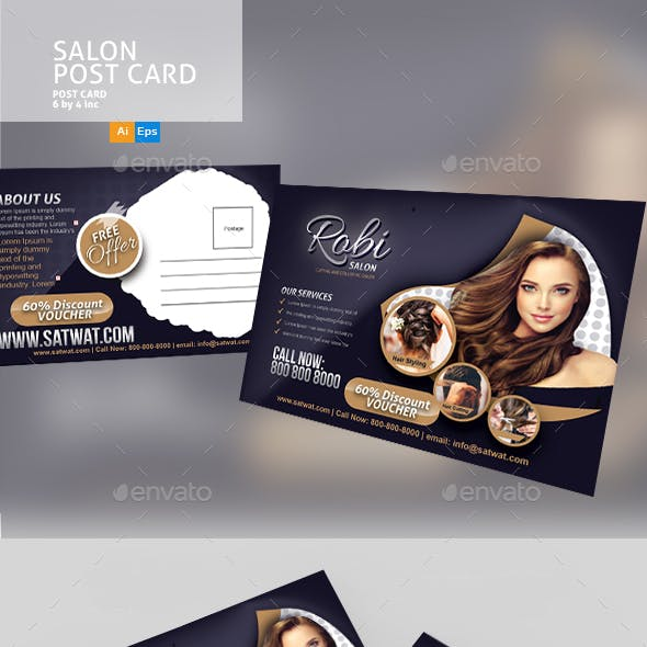 Salon Post Card Template