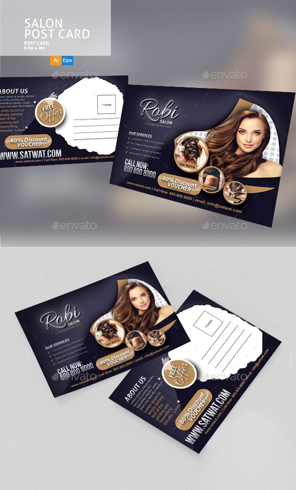 Salon Post Card Template - Cards & Invites Print Templates