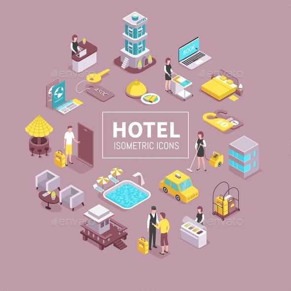 Hotel Isometric Composition - Miscellaneous Vectors