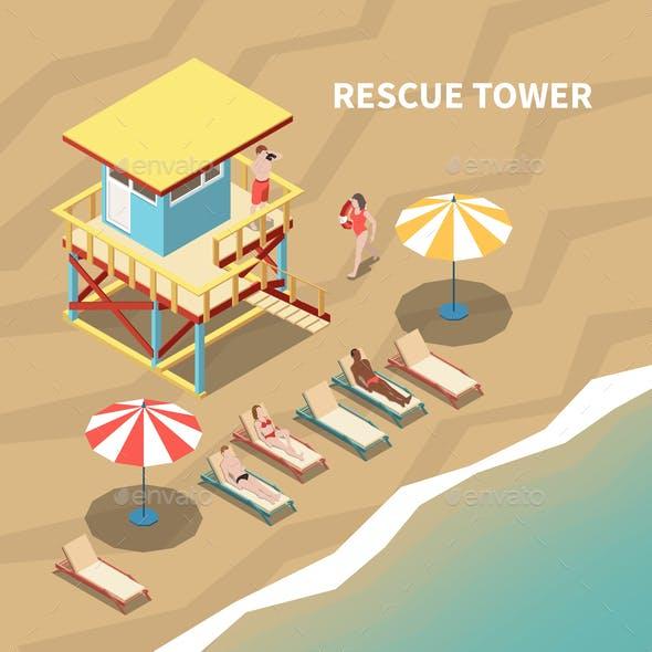 Lifeguards Isometric Illustration