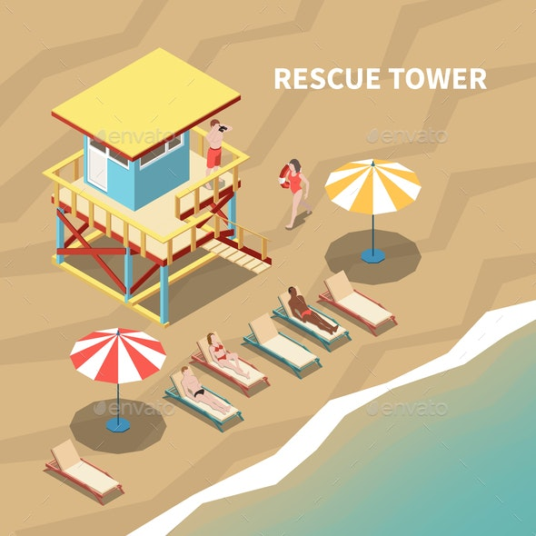 Lifeguards Isometric Illustration - Miscellaneous Vectors