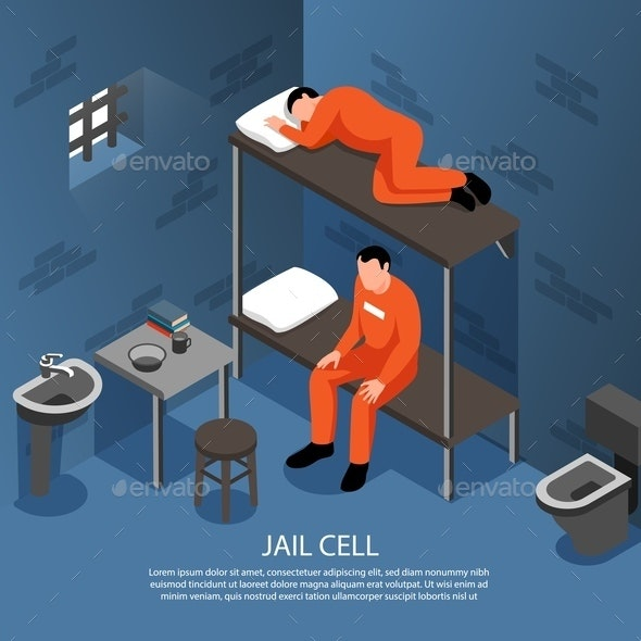 Jail Cell Isometric Illustration - Miscellaneous Vectors