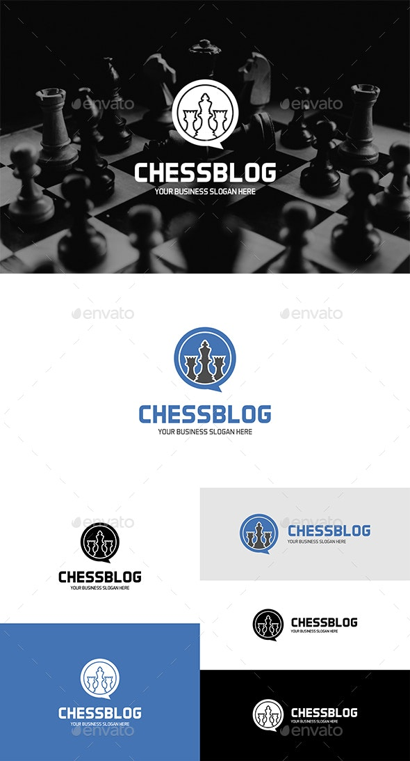 Chess Blog Logo King and Rook Figures in Speech Bubble Form - Objects Logo Templates