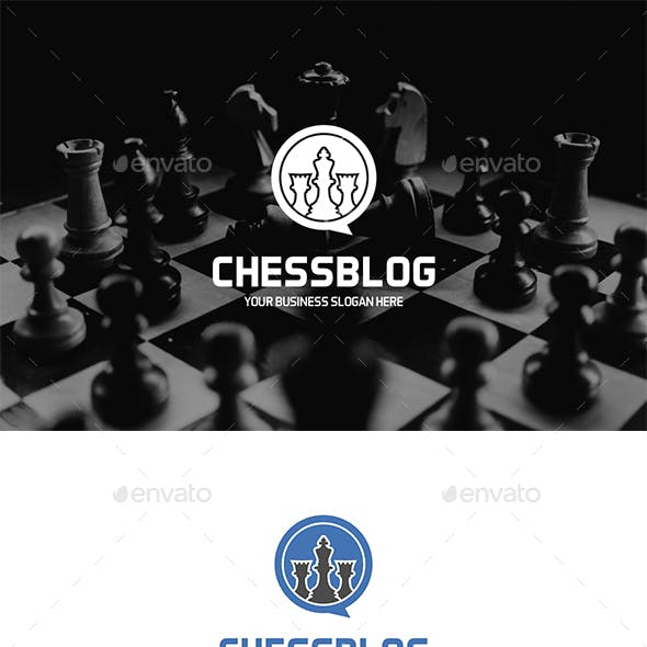 Chess Blog Logo King and Rook Figures in Speech Bubble Form