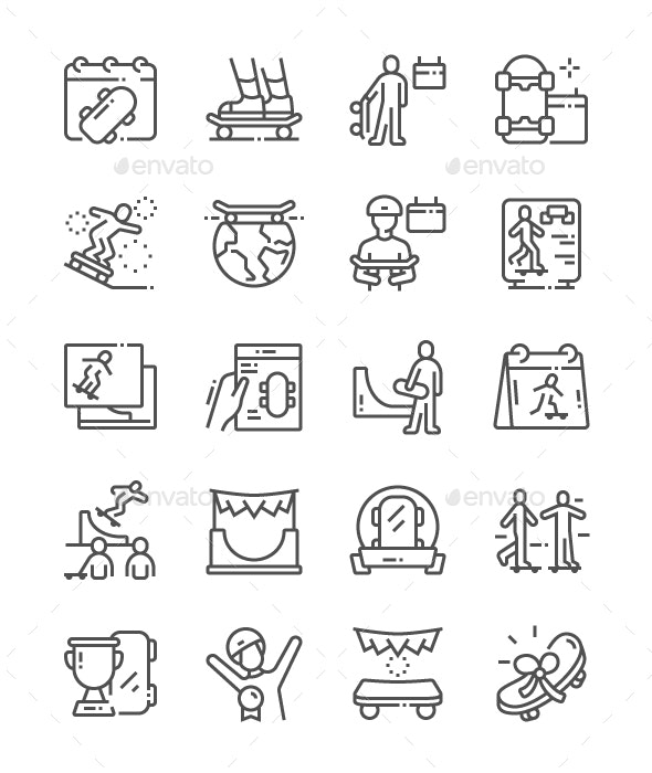 Go Skateboarding Day Line Icons - Miscellaneous Characters