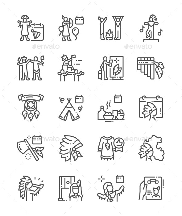 Indian Day in Peru Line Icons - Miscellaneous Characters