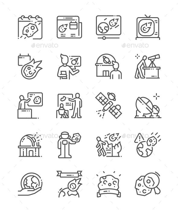 Asteroid Day Line Icons - Miscellaneous Characters
