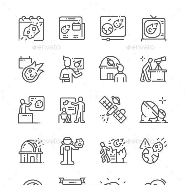 Asteroid Day Line Icons